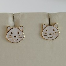 18K YELLOW GOLD PENDANT CHILD CAT EARRINGS GLAZED CATS, FLAT, MADE IN ITALY image 1