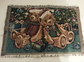 "ADORABLE TAPESTRY TEDDY BEARS XMAS CHRISTMAS CRAFTING FRAMABLE 18X12"" OR... - $4.94"