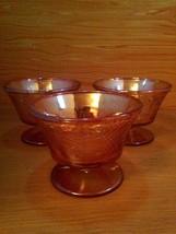 Vintage 3 pc. Carnival Glass Sherbet Ice Cream Dish Set - $14.95
