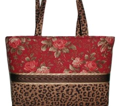 Burgundy Roses Leopard Purse, Burgundy Leopard Purse, Burgundy Roses Purse  - $90.00