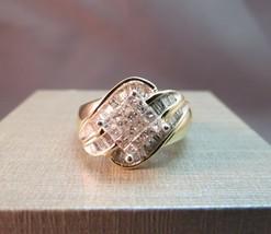 10K Yellow Gold Diamond Ring 1.50 CTW Princess Cut Baguette 7.3g Size 7 ... - $494.99