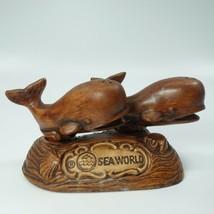 Treasure Craft Vintage Salt Pepper Shaker SeaWorld Whales Orca Ceramic Wood Tone - $17.99
