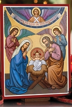 """Glory to God icon Wooden Plaque With Lumina Gold 3"""" x 4"""""""