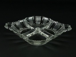 Fostoria Sunray 4 Part Divided Relish Dish, Vintage Elegant Glass Pleat ... - $14.70