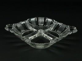 Fostoria Sunray 4 Part Divided Relish Dish, Vintage Elegant Glass Pleat ... - $14.70