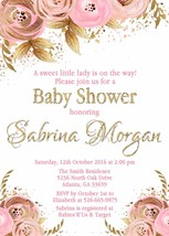 Pink Gold Floral Invitation Bridal Shower Baby Shower Birthday Personalized - £10.30 GBP