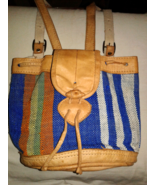 Small Vintage Southwestern Backpack Bag Tan Leather & Multicolored Canvas - $16.00