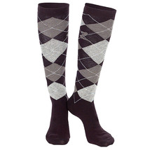6-7.5 HORZE HOLLY ARGYLE FABRIC COTTON LADIES PAIR KNEE SOCKS DARK BROWN - $223,98 MXN