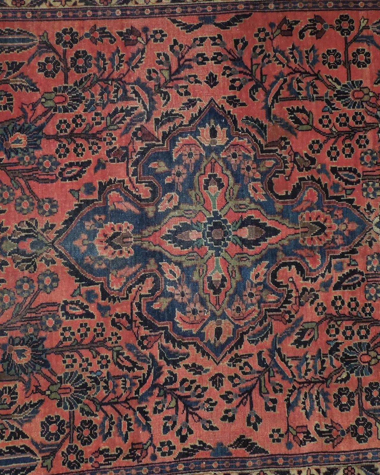 Sarouk Persian Wool Hand-Knotted Rug 5' x 7' Salmon Red Vintage Antique Red Rug image 10