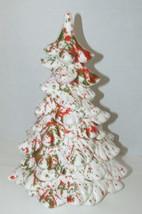 "Vintage Ceramic white Christmas tree 10"" Red green splatter speckled pai... - $49.49"