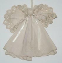 Vintage Handmade Doily Angel, Christmas Ivory Lace w/ Pearl Halo Satin R... - $12.49