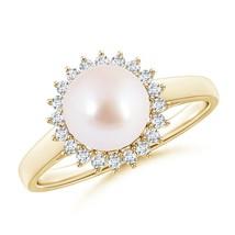 June Birthstone 8mm Ball Cultured Akoya Pearl Ring with Diamond Halo Siz... - $625.34+