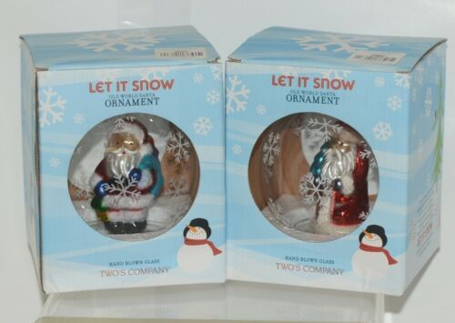 Twos Company Let It Snow Old World Santa Glass Ornament Set 2 Different Scenes