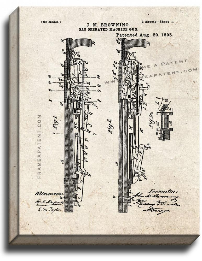 Primary image for Gas-operated Machine-gun Patent Print Old Look on Canvas