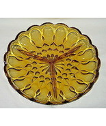 Anchor Hocking Fairfield Pattern Honey Amber 3-Part Relish Dish - $6.88