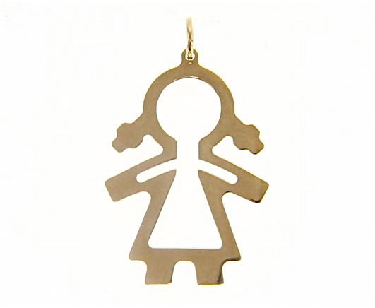 18K YELLOW GOLD LUSTER PENDANT WITH GIRL BABY PERFORATED MADE IN ITALY 1.25 INCH