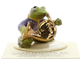 Hagen-Renaker Miniature Ceramic Frog Figurine Toadally Brass Band French Horn