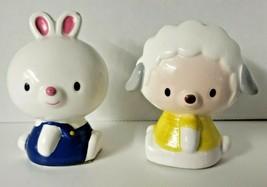 Anthropomorphic Vintage Enesco Statues 1984 Bunny Blue bibs & Lamb Yello... - $39.99