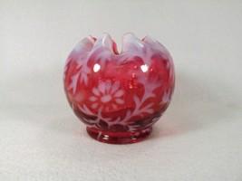 Fenton Glass Vase Spanish Lace Rose Bowl Cranberry Opalescent Daisy Flow... - $73.05
