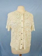 Vintage Cream Lace Top Short Sleeve Abalone Shell Button Front Shirt  - $33.25