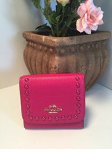 Coach Wallet 53990 Lacquer Rivets Pebble Leather Clutch Pink Cerise W12 - $89.09