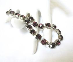Tennis Bracelet, Purple Rhinestones, Amethyst, Hidden Box Clasp, 1980's,... - $20.00