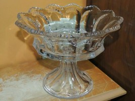 "Antique 8.5"" Compote Heisey Colonial Pattern Peerless Crystal Glass foot... - $58.49"