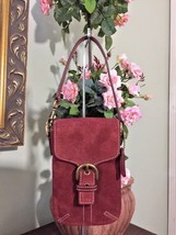 Coach Soho Suede Burgundy Pouch Wristlet Universal  Bag B24 - $48.30