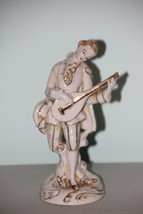 Vintage Porcelain Colonial Man Playing Mandolin -White w/ Gold Accents J... - $14.85