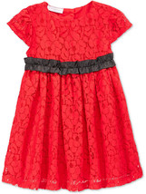 First Impressions Baby Girls' Short-Sleeve Red Lace Dress,Size 24 M, MSRP $48.5 - $19.79