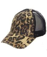 Washed Denim Leopard Criss Cross High Pony CC Ball Cap - £12.23 GBP