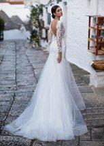 Sexy Deep Lace Long Sleeve Mermaid Wedding Lace Appliqued Backless Wedding Brida image 3