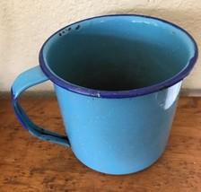 Vintage Enamelware Tin Light Blue Speckled Enam... - $31.68