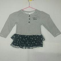 Calvin Klein Black and White Striped Polka Dot Top - $20.00