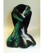 Hand Painted Silk Scarf Forest Green Black White Unique Oblong Abstract ... - $56.00