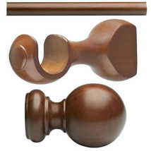 "Kirsch Basic Wood Kit:1 3/8"" Smooth Pole+Round Brackets+Ball finial, Walnut:6 FT - $119.67"