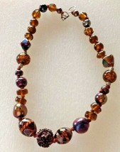 Necklace Shimmery Iridescent Brown Rust Art Glass Beads Vintage - $15.79