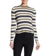 DEREK LAM 10 CROSBY M Striped Twofer Sweater Ruffled Hem Shirttail Ribbe... - $103.95