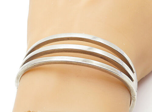 Primary image for MEXICO 925 Silver - Vintage Linear Open Design Hinged Bangle Bracelet - B7368