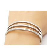 MEXICO 925 Silver - Vintage Linear Open Design Hinged Bangle Bracelet - ... - $173.08