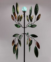 """72"""" Solar Metal Wind Spinner Featuring Green and Golden Leaves image 2"""