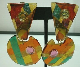 "Vintage Conceits  Clip ON Earrings Green Orange Yellow Dangles Mam' ""Style"" - $34.64"