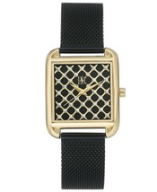 I.N.C. Women's Gold Tone Black Stainless Steel Mesh Bracelet Watch 30x37mm NEW