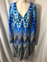 #385--Muse Womens Size 4  blue multi color knit stretch dress. - $9.48