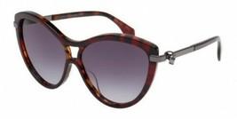 Alexander McQueen AM0021S 003 57MM Cat-Eyed Black Havana Women's Sunglasses - $148.49