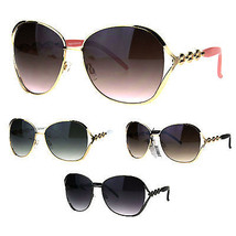 Womens Exposed Lens Oversize Butterfly Metal Rim Jewel Diva Sunglasses - $17.07 CAD