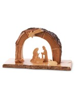 Olive Wood Nativity grotto /carved nativity creche/ Holy Land - $32.00
