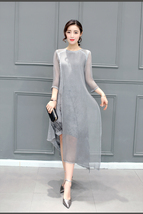 Gray Cotton Linen Polyester Mid Calf  Dress S – 4XL - €28,24 EUR