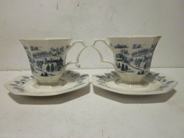 2 Vintage Nikko Blue & White Ironstone Town Winter Scene Tea Cups & Saucers #2 - $9.99