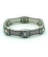 Etched Silver Tone Rhinestone Hinged Clamp Bangle Bracelet - $15.84